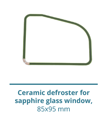Ceramic defroster for sapphire glass window